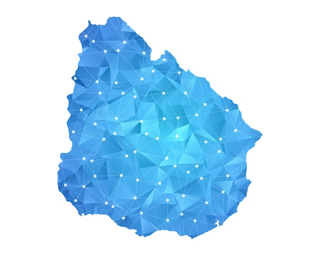 Uruguay mappa punti linea geometrica astratta poligonale.