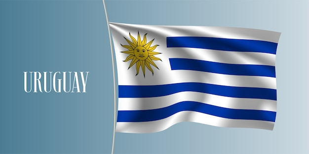 Uruguay sventolando bandiera. iconico simbolo nazionale uruguaiano