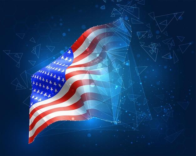 Usa, america, bandiera, oggetto 3d astratto virtuale da poligoni triangolari su sfondo blu