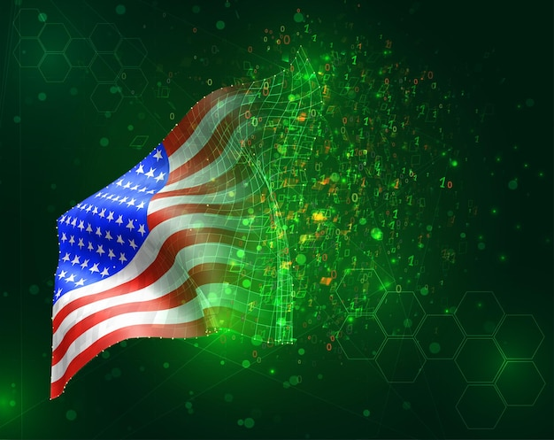 Usa, america, vettore 3d bandiera su sfondo verde con poligoni e numeri di dati