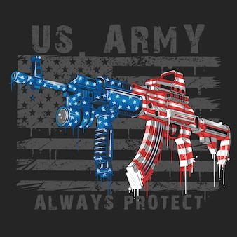 Armi del soldato dell'esercito dell'esercito di america usa ak-47 e bandierina degli stati uniti