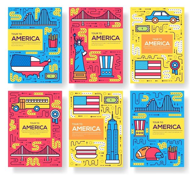 Set linea sottile di carte brochure usa. modello di viaggio paese di flyear, poster, libri, banner.