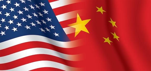 Stati uniti d'america e cina sventolando bandiere sullo sfondo.