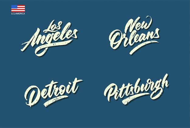 Set di nomi di città degli stati uniti realizzati in stile vintage scritto a mano.