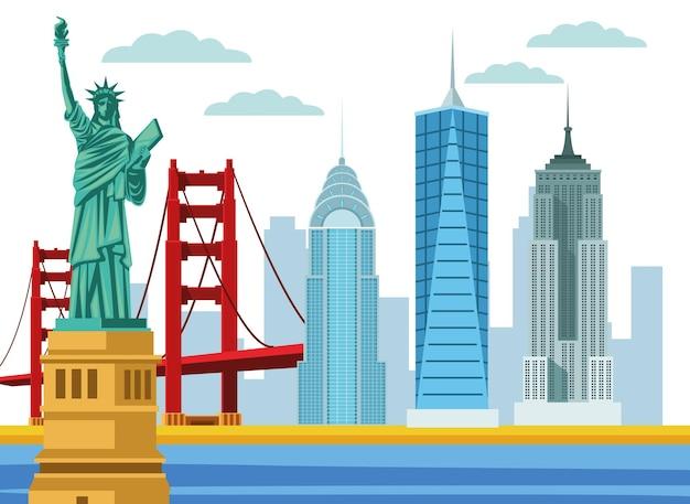 Scena della città degli stati uniti