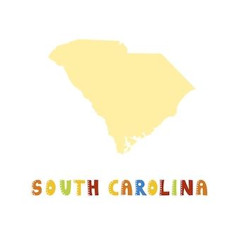 Collezione usa. mappa della carolina del sud - sagoma gialla