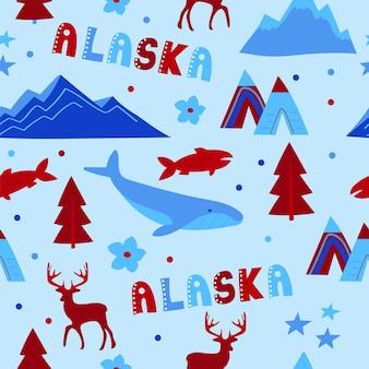 Collezione usa. illustrazione vettoriale del tema dell'alaska. simboli di stato - modello senza soluzione di continuità
