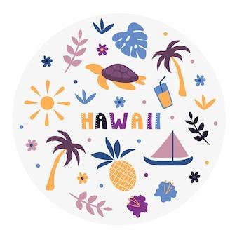 Collezione usa. illustrazione vettoriale delle hawaii. simboli di stato - forma rotonda