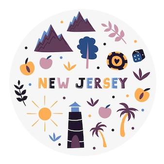 Collezione usa. illustrazione vettoriale del new jersey. simboli di stato - forma rotonda