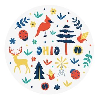 Collezione usa. illustrazione vettoriale del tema dell'ohio. simboli di stato - forma rotonda