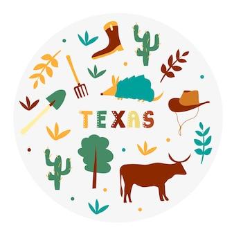 Collezione usa. illustrazione vettoriale del texas. simboli di stato - forma rotonda