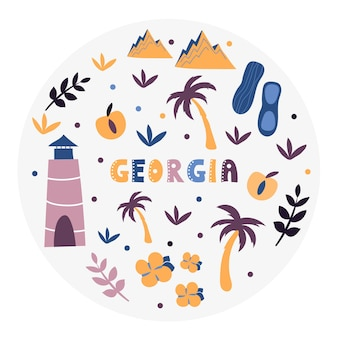 Collezione usa. illustrazione vettoriale di stati uniti georgia. simboli di stato - forma rotonda