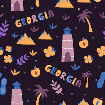 Collezione usa. illustrazione vettoriale del tema usa georgia. simboli di stato - modello senza soluzione di continuità