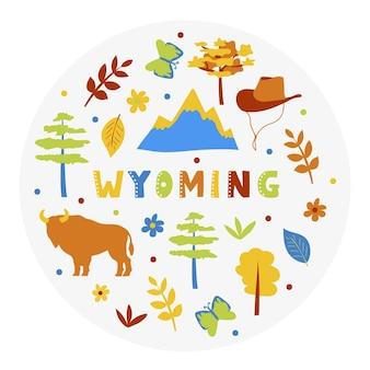 Collezione usa. illustrazione vettoriale del tema del wyoming. simboli di stato - forma rotonda
