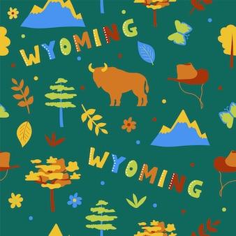 Collezione usa. illustrazione vettoriale del tema del wyoming. simboli di stato - modello senza cuciture su green