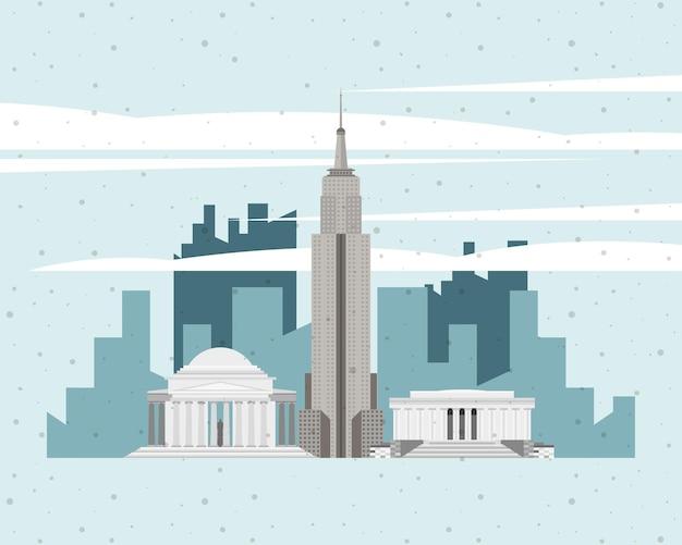 Usa famosi monumenti paesaggio urbano scena