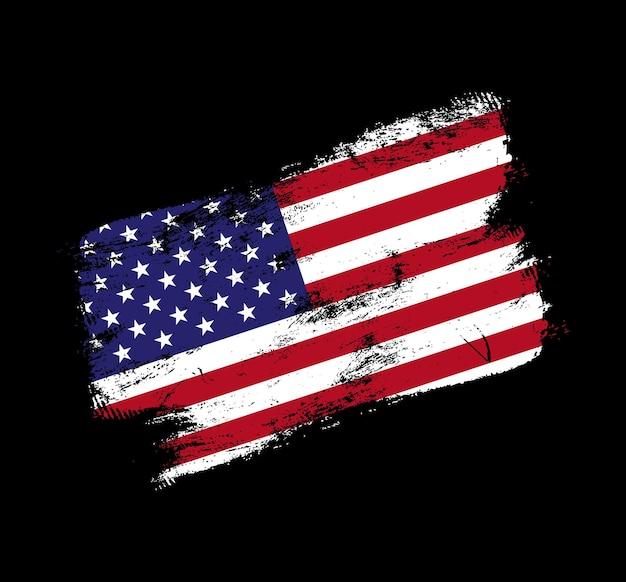 Fondo della spazzola di lerciume della bandiera degli sua. vecchia illustrazione vettoriale di bandiera pennello. concetto astratto di sfondo nazionale.