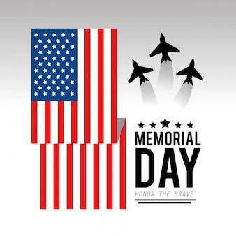 Bandiera usa con aeroplani a memorial day