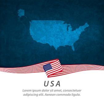 Bandiera usa con mappa centrale