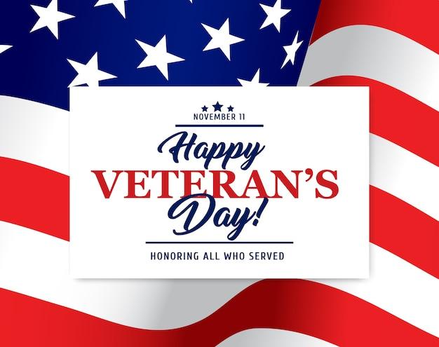 Bandiera degli stati uniti con happy veteran day in onore della carta dei veterani militari americani