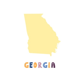 Mappa usa georgia isolata. collezione usa. mappa degli stati uniti georgia - sagoma gialla. scritte in stile scarabocchio su bianco