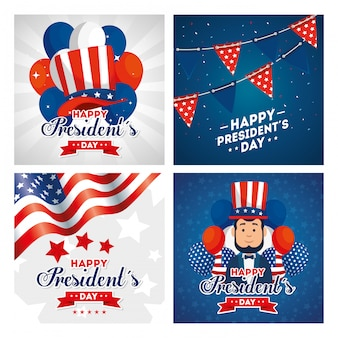 Felice giorno di presidenti degli stati uniti nazione di indipendenza degli stati uniti nazione e carta nazionale