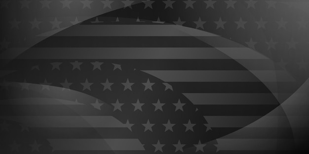 Fondo astratto di festa dell'indipendenza degli stati uniti con elementi della bandiera americana nei colori grigi e neri