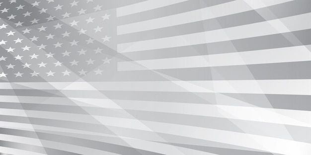Fondo astratto di festa dell'indipendenza degli stati uniti con gli elementi della bandiera americana nei colori grigi