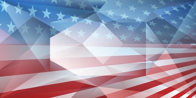Fondo dell'estratto del giorno dell'indipendenza degli stati uniti con gli elementi della bandiera americana nei colori rosso e blu