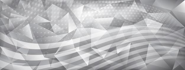 Fondo di cristallo astratto di festa dell'indipendenza degli stati uniti con gli elementi della bandiera americana nei colori grigi