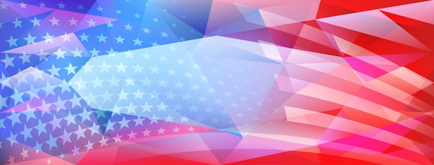Fondo di cristallo astratto di festa dell'indipendenza degli stati uniti con elementi della bandiera americana nei colori rosso e blu