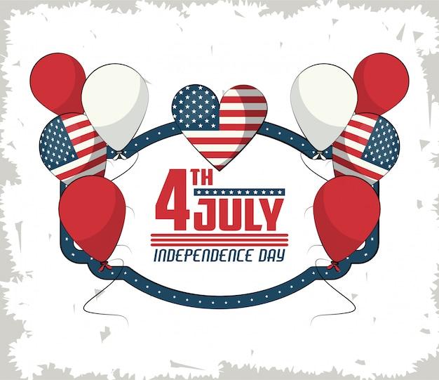 Carta di giorno dell'indipendenza usa con cartoni animati