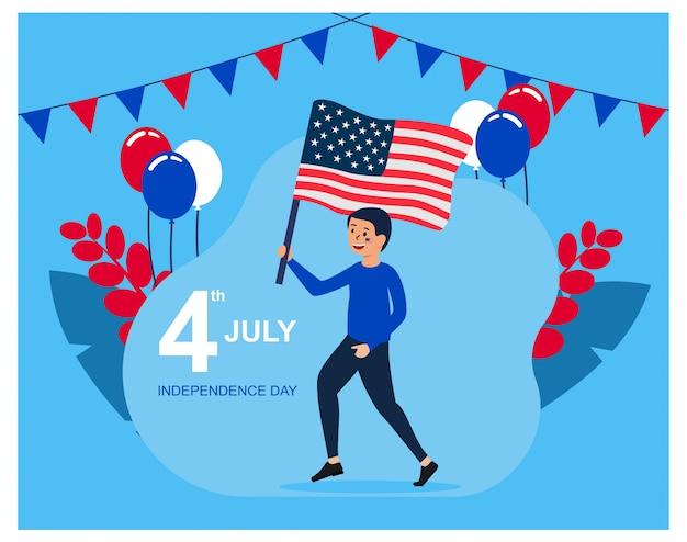 Design piatto per il giorno dell'indipendenza degli stati uniti