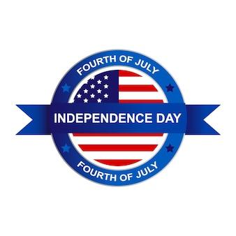 Logo di simbolo di festa dell'indipendenza degli stati uniti del quarto di luglio. illustrazione vettoriale eps 10