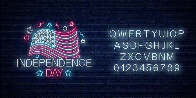 Insegna al neon incandescente del giorno dell'indipendenza degli stati uniti