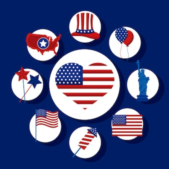 Set di icone per il giorno dell'indipendenza degli stati uniti