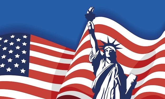 Festa dell'indipendenza degli stati uniti con la statua della libertà