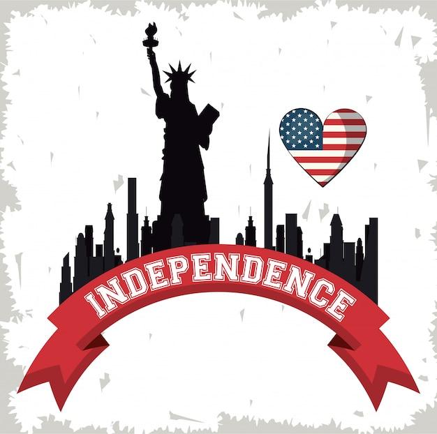 Festa dell'indipendenza di usa con paesaggio urbano e bandiera di new york
