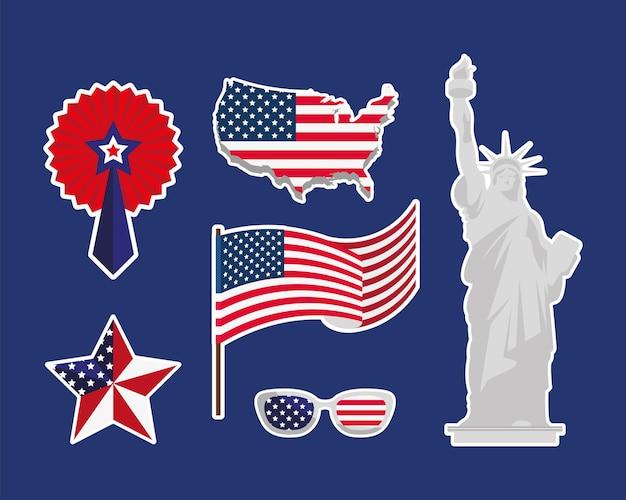 Set di sei adesivi per l'indipendenza degli stati uniti