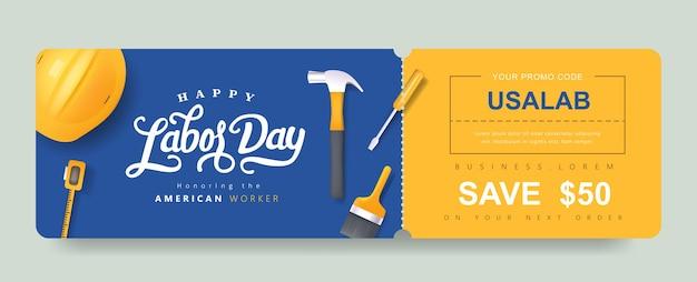 Fondo dell'insegna del buono di promozione del regalo di festa del lavoro usa. elegante buono per la festa del lavoro.