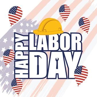 Cartolina della festa del lavoro degli stati uniti con elio di palloncini