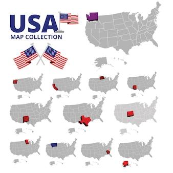 Collezione di mappe usa e bandiera