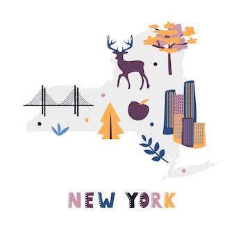 Collezione di mappe degli stati uniti. simboli di stato sulla sagoma di stato grigio - new york