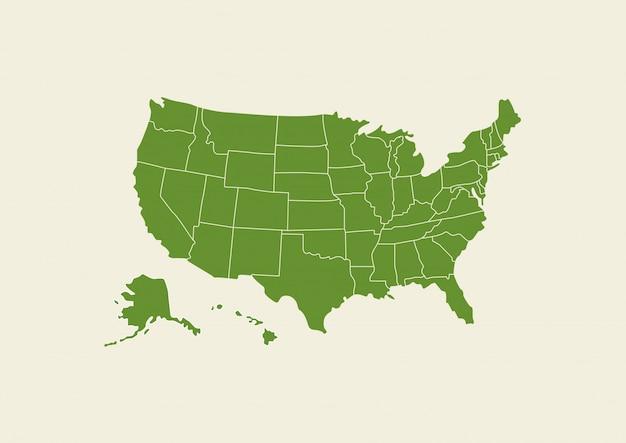 Verde della mappa di usa isolato su fondo bianco