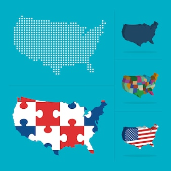 Collezione di mappe degli stati uniti