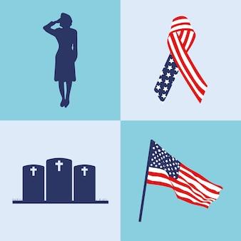 Set di icone memoriali usa