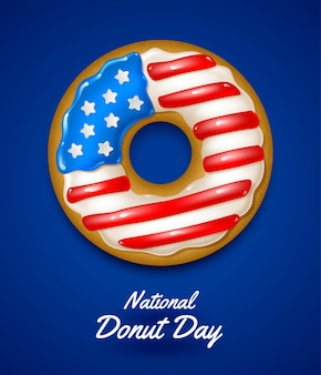 Usa national donut day illustration ciambella glassata con i colori della bandiera usa