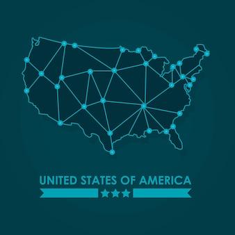 Progettazione dell'illustrazione della mappa di rete degli stati uniti