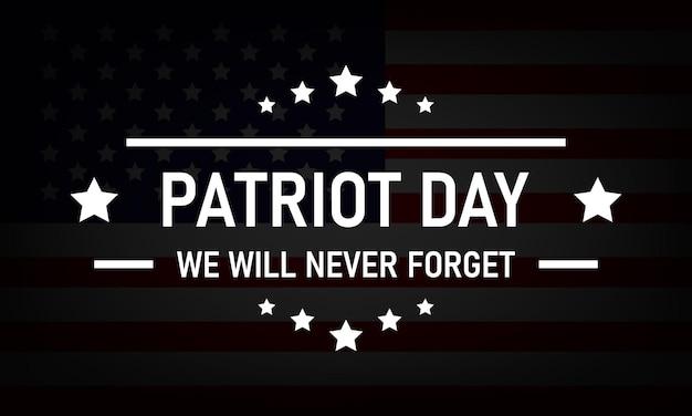 Logo usa patriot day sullo sfondo della bandiera usa. eps vettoriale 10