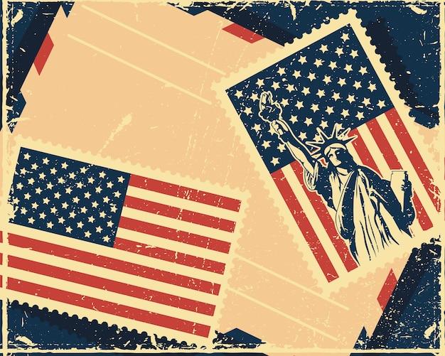 Illustrazione del servizio postale degli stati uniti con i francobolli